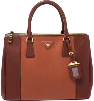 Prada Brown Two Tone Saffiano Lux Leather Medium Double Zip Tote