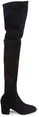 Valentino Suede Block Heel Over-The-Knee Boots