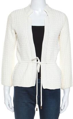 Carolina Herrera White Cable Knit Cotton Drawstring Waist Cardigan XS
