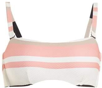 Asceno - Bandeau Striped Bikini Top - Womens - Cream Stripe