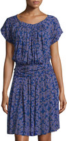 See by Chloe Printed Short-Sleeve Blouson Dress, Deep Blue