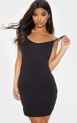 PrettyLittleThing Basic Grey Marl Jersey Curved Hem Strappy Bodycon Dress
