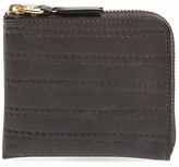 Comme des Garcons 'Embossed Stitch' Leather Half Zip French Wallet