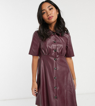 ASOS DESIGN Petite leather look mini shirt dress