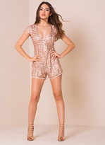 Missy Empire Caterina Nude Sequin Plunge Neck Playsuit
