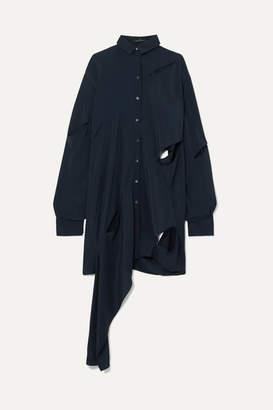 Rokh Asymmetric Cutout Crepe De Chine Shirt - Navy