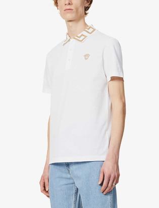 Versace Logo-print cotton-pique polo shirt