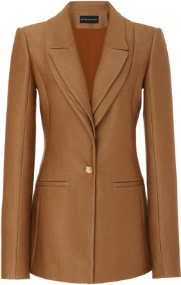 Brandon Maxwell Lapel-Detailed Wool-Silk Twill Blazer Jacket