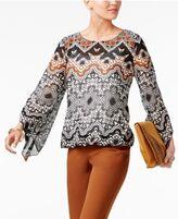 Alfani Printed Angel-Sleeve Blouson Top, Only at Macy's