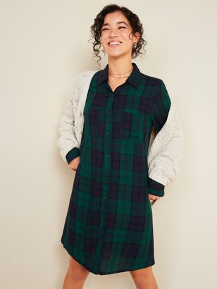 Old Navy Plaid Lightweight Flannel Swing Shirt Dress for Women