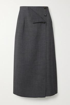 LE 17 SEPTEMBRE Wrap-effect Woven Midi Skirt - Gray