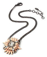 Amrita Singh Women's Necklaces Peach - Peach & Gunmetal-Tone Crystal Floral Pendant Necklace