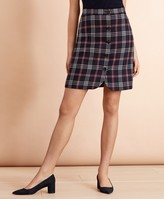 Brooks Brothers Plaid Wool-Blend Button-Front Skirt