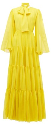 Giambattista Valli Pussy-bow Tiered Silk Gown - Womens - Yellow