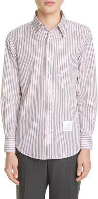 Thom Browne Stripe Straight Fit Long Sleeve Button-Down Shirt