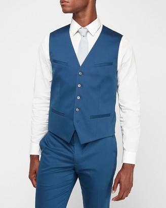 Express Blue Cotton Sateen Suit Vest