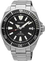 Seiko black dial and bezel stainless steel bracelet mens diving watch