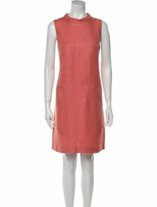 S Max Mara Linen Knee-Length Dress Pink