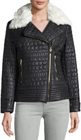 Via Spiga Quilted Moto Jacket with Faux-Fur Collar, Black