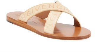 Givenchy Logo Web Crisscross Flat Sandals