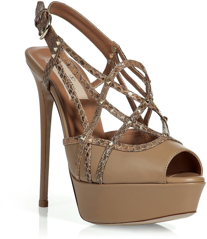 Valentino Tan Studded Platform Sandals