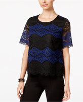INC International Concepts Lace Colorblocked Top, Only at Macy's