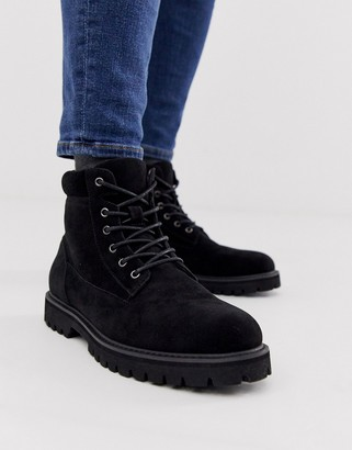 Asos Design DESIGN lace up boot in black faux suede with padded cuff detail