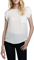 Joie Rancher Short-Sleeve Blouse, Porcelain