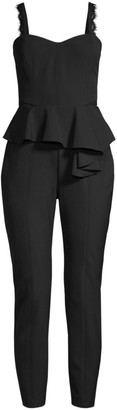Parker Black Kimora Lace Detail Peplum Jumpsuit