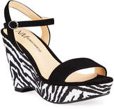 Neiman Marcus Zebra Platform Wedge Sandals