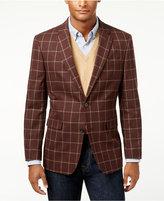 Tommy Hilfiger Men's Slim-Fit Burgandy Windowpane Sport Coat