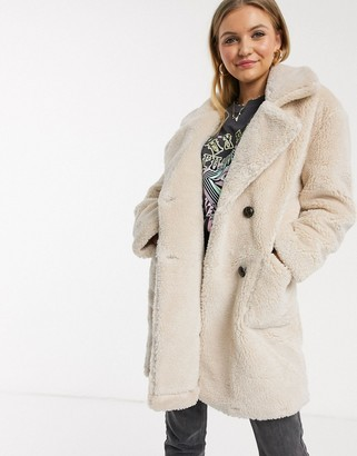 Qed London double breasted teddy coat in stone