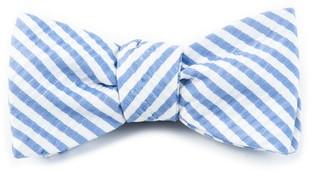 Tie Bar Silk Seersucker Stripe Periwinkle Bow Tie