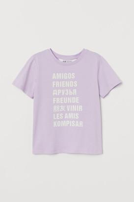 H&M Cotton Jersey T-shirt - Purple