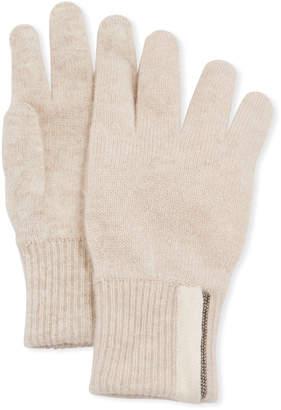 Brunello Cucinelli Girl's Cashmere Gloves with Monili, Size 6