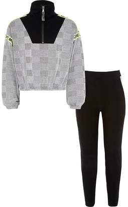 River Island Girls black check half zip sweatshirt outfit