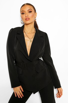 boohoo Tailored Double Breasted Self Belt Blazer