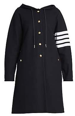 Thom Browne Women's Hooded Stripe Sleeve Sport Coat Parka