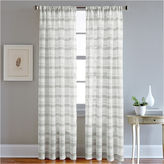 Asstd National Brand Albury Stripe Rod-Pocket Sheer Curtain Panel