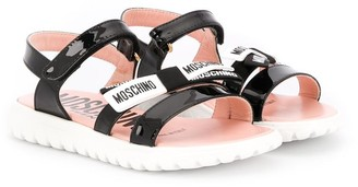 MOSCHINO BAMBINO TEEN logo touch-strap sandals