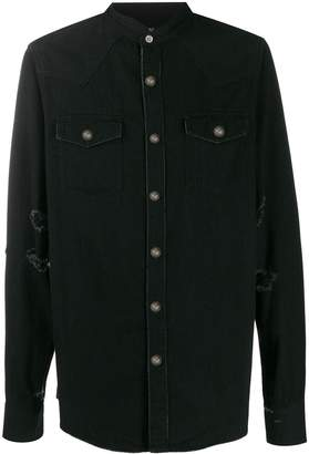 Balmain distressed western shirt