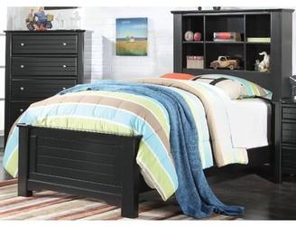Harriet Bee Chicago Platform Bed with Bookcase Size: Full, Bed Frame Color: Black