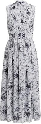 Adam Lippes High Neck Pleated Midi Dress