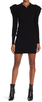 A.L.C. Amina Ribbed Puff Sleeve Bodycon Dress