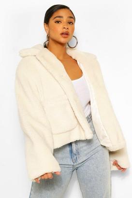 boohoo Plus Pocket Detail Teddy Faux Fur Jacket