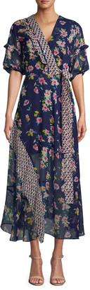 Nicole Miller Cosmo Floral Midi Kimono Dress