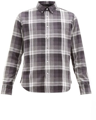 Rag & Bone Tomlin Checked Button Down Cotton Shirt - Mens - Black Multi