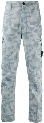 Stone Island Camouflage Print Cargo Trousers