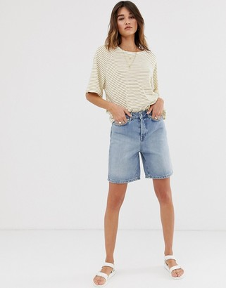 Selected long line mom shorts-Blue