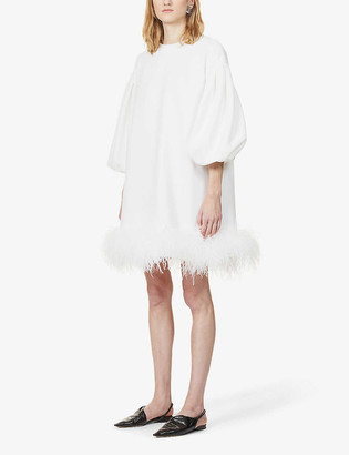 Huishan Zhang Poppy feather-trimmed woven mini dress